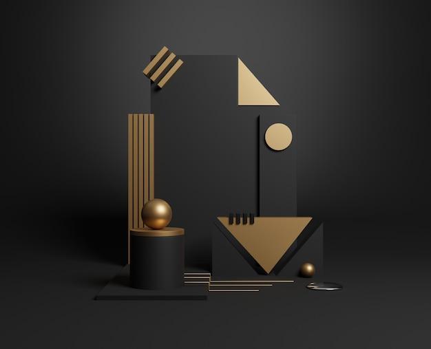 Ouro 3d mínimo e formas geométricas pretas. ilustração 3d