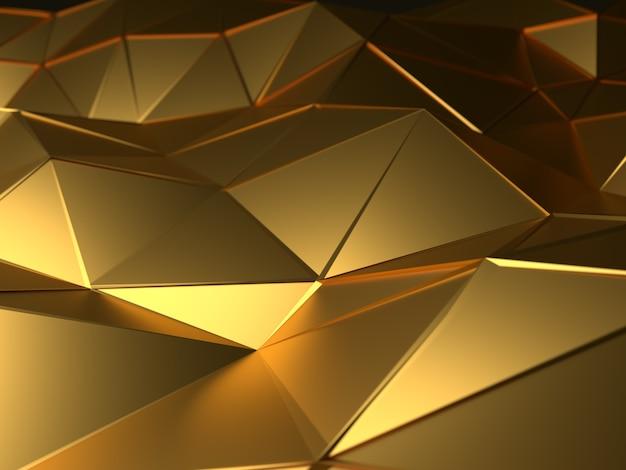 Ouro abstrato da ilustração 3d poligonal, baixa forma poli para o projeto.