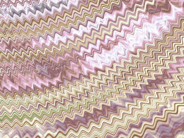 Ouro abstrato e ondas cor-de-rosa do fractal. 3d render