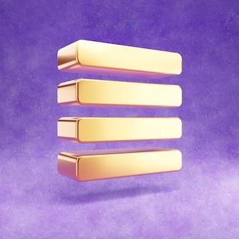 Ouro alinhar justificar ícone isolado em veludo violeta