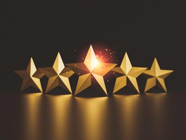 Ouro cinco estrelas em fundo escuro para excelente taxa de avaliação do cliente por renderização em 3d.
