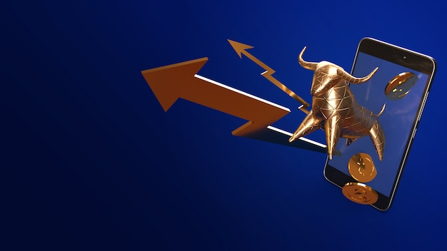 Ouro de bull e rendição 3d móvel para o índice do negócio.