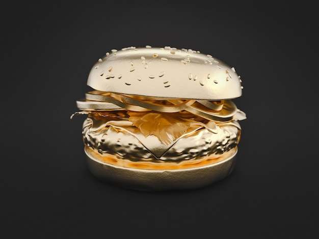 Ouro de hambúrguer está sobre fundo preto. renderização 3d e ilustração. Foto Premium
