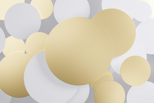 Ouro e branco redondo ícone de círculo. renderização em 3d