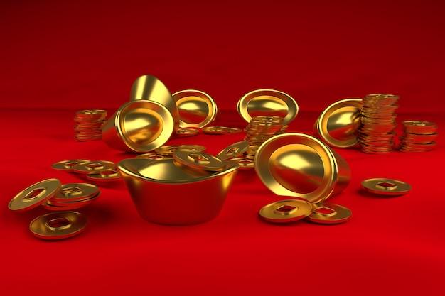 Ouro e moeda 3d