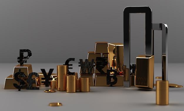 Ouro e moedas com dinheiro moeda e mármore textura geométrica renderização em 3d