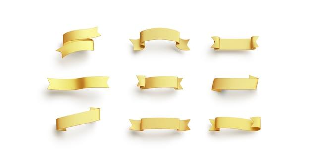 Ouro em branco banderole mock up vazio vintage ornament mockup claro amarelo título para fest isolado