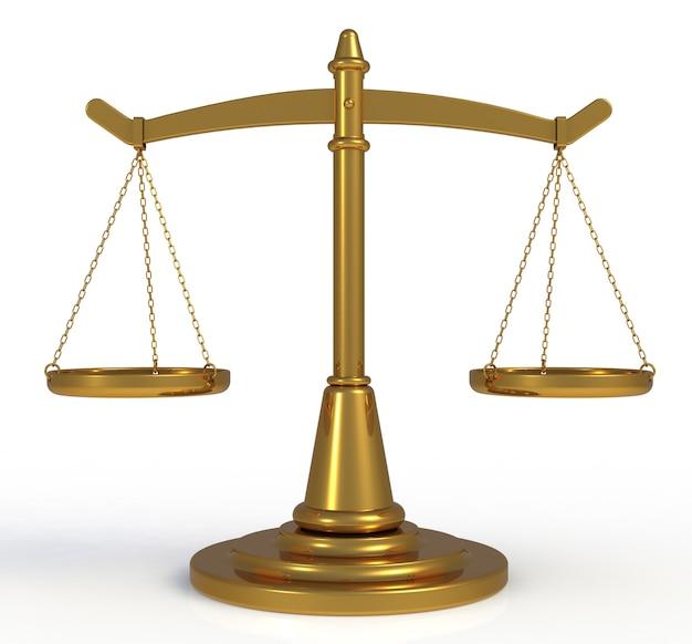 Ouro escalas justiça isolado no fundo branco, renderização em 3d