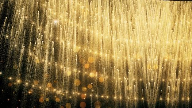 Ouro glitter e reflexão luzes de fundo e papel de parede em prêmios e comemorações.