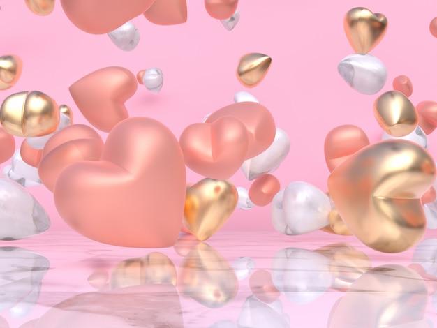 Ouro rosa branco metálico balão brilhante coração forma levitação resumo valentine conceito 3d rendering