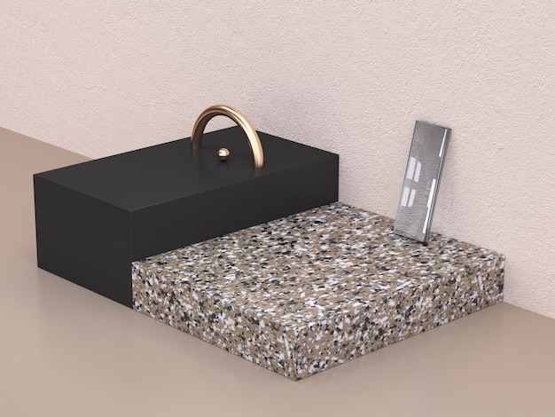 Ouro semicírculo 3d rendering preto e mármore forma