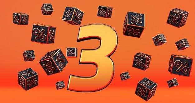 Ouro três número de 3 por cento com porcentagens de cubos pretos voam sobre um fundo laranja. renderização 3d