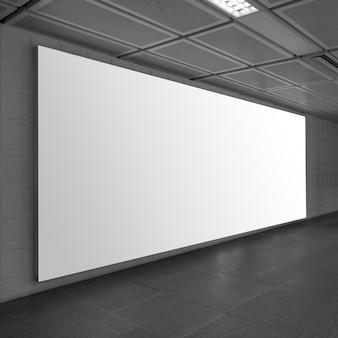 Outdoor de publicidade em branco branco no trem subterrâneo, grande anúncio de lcd