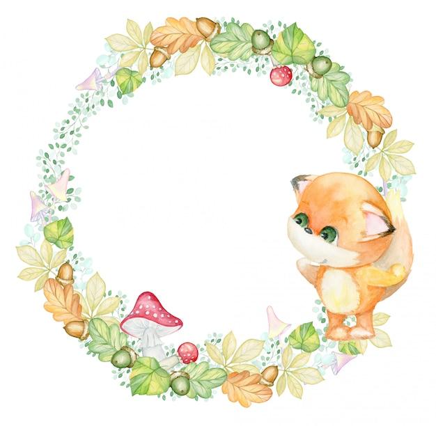 Outono, buquê de aquarela. pequena raposa. folhas de outono, frutos, bolotas, cogumelos. coroa de flores em aquarela