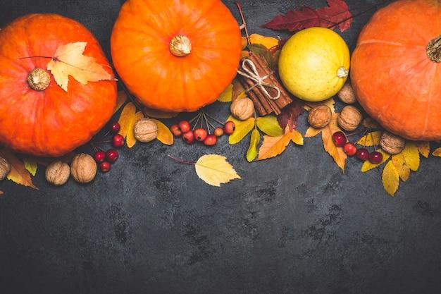 Outono colheita abóbora composição de ação de graças em um fundo preto