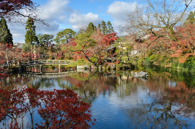 Outono colorido no templo de eikando ou zenrin-ji em kyoto, japão