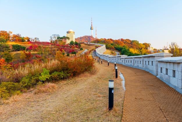 Outono da torre namsan em seul, coréia do sul