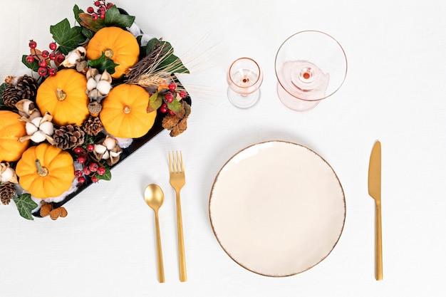 Outono, decoração de mesa de ação de graças de outono, centro de mesa feito à mão