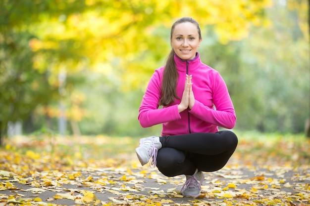 Outono fitness: toestand pose