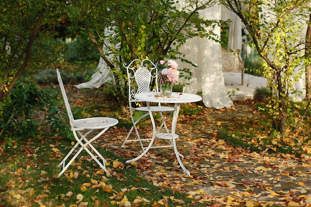 Outono no jardim, folhas de outono