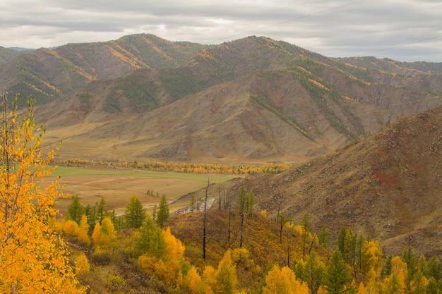 Outono paisagem montanhosa. outono nas montanhas de gorny altai. viagem para altai.