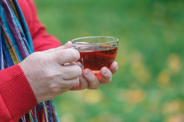Outono passeio no parque com uma xícara de chá