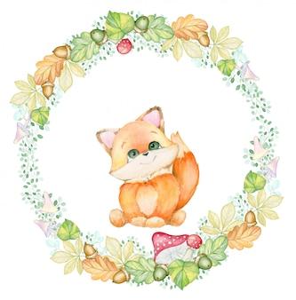 Outono, raposa pequena. buquê de aquarela pequena raposa. folhas de outono, frutos, bolotas, cogumelos.