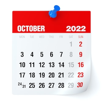 Outubro de 2022 - calendário. isolado no fundo branco. ilustração 3d