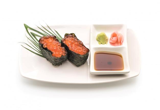 Ovas de salmão nigiri sushi - estilo de comida japonesa