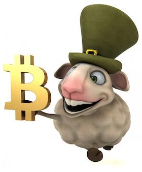 Ovelhas e bitcoin - ilustração 3d