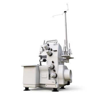 Overlock em um fundo branco. equipamento para produção de costura. confecção de roupas e tecidos