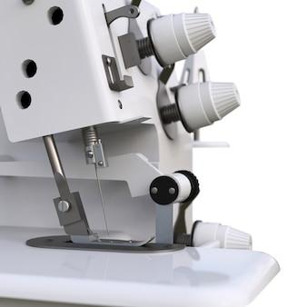 Overlock em um fundo branco. equipamento para produção de costura. costura de roupas e tecidos. ilustração 3d