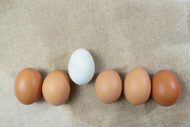 Ovo branco no interior muitos ovos na madeira de mesa branca