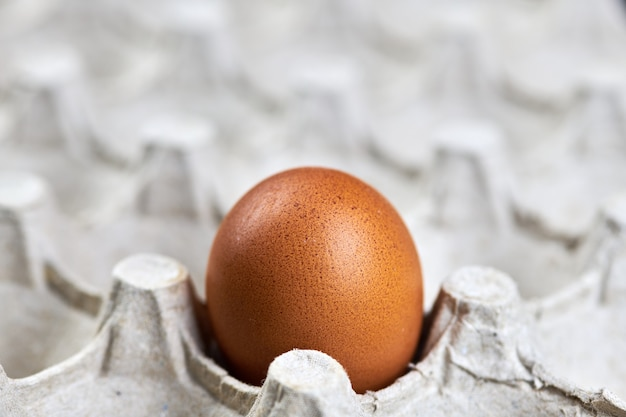 Ovo de galinha na bandeja de papel para ovos. ovo fresco natural, copie o espaço. casca de ovo marrom na caixa