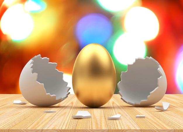 Ovo de páscoa dourado eclodiu de uma casca de ovo quebrada em luzes desfocadas.