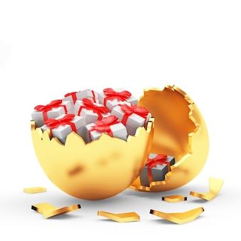 Ovo de páscoa dourado quebrado com caixas de presente