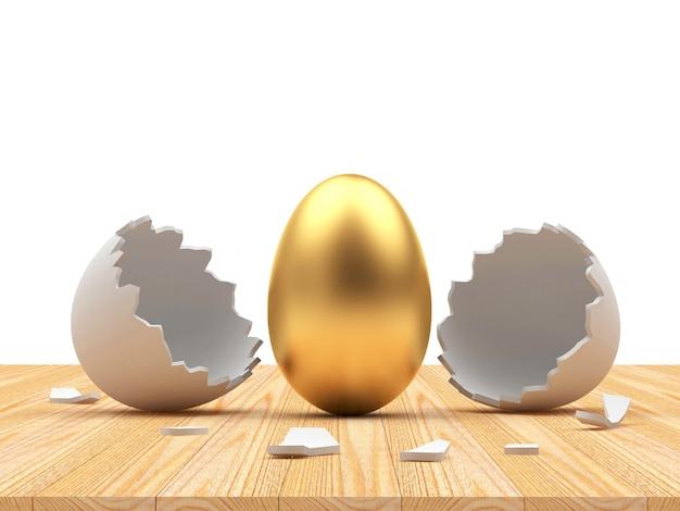 Ovo de páscoa dourado saído de uma casca de ovo quebrada