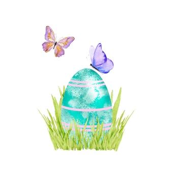 Ovo de páscoa na grama verde com ilustração de borboletas em aquarela
