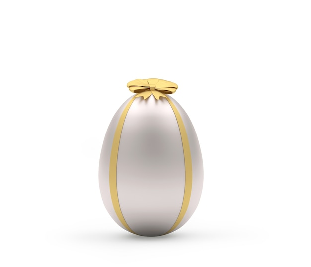 Ovo de páscoa prateado com laço dourado