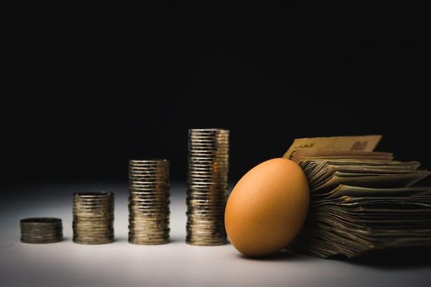 Ovo e muitos dinheiro com gráfico de inflação pilhas de moedas