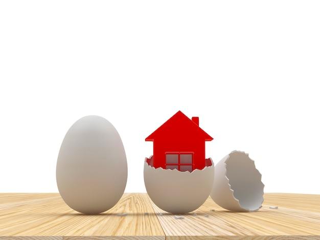 Ovo inteiro e casca de ovo quebrada com o ícone da casa.