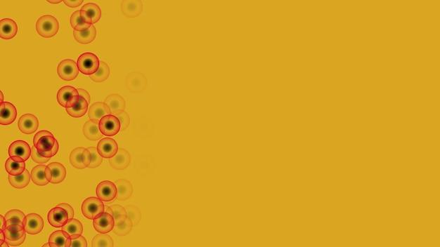 Ovo marinho abstrato vermelho transparente com núcleo preto se move rapidamente da direita para a esquerda e flutuando no fundo dourado da fortuna