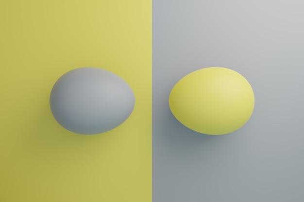Ovos amarelos e cinza ilustração do conceito do feriado da páscoa em cores da moda