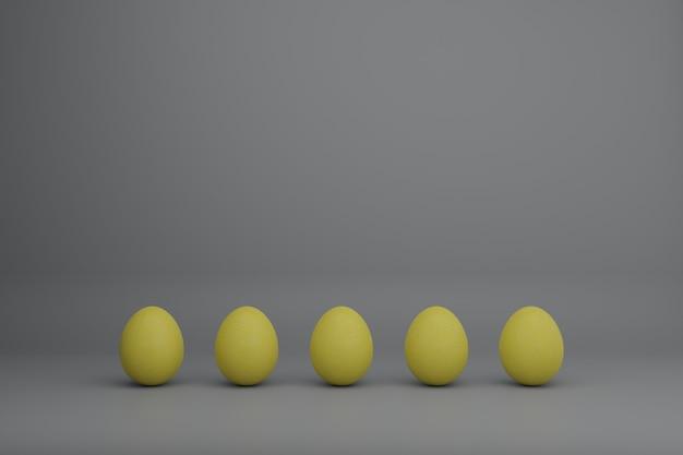 Ovos amarelos em um fundo cinza ilustração do conceito de férias em cores da moda