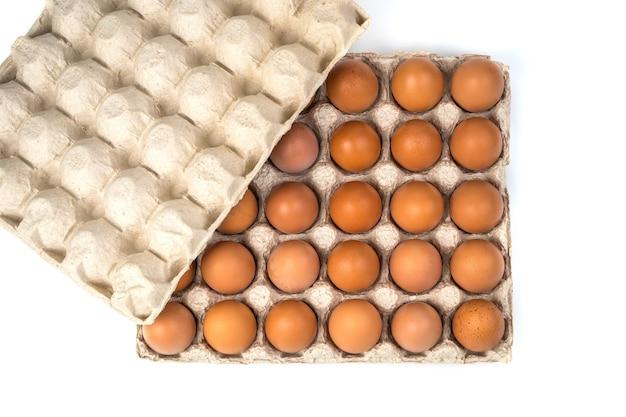 Ovos caseiros frescos em uma bandeja de papelão isolada no branco