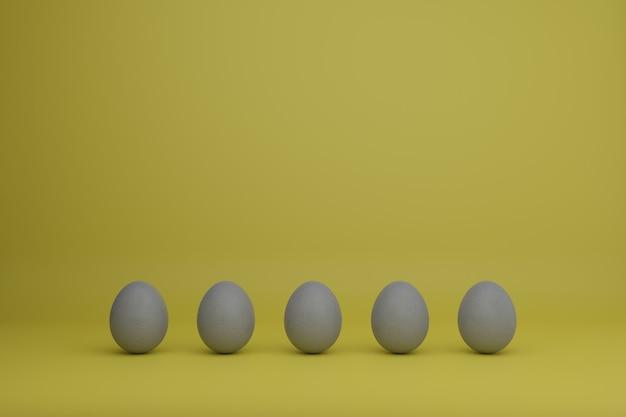 Ovos cinzentos em um fundo amarelo ilustração do conceito de férias em cores da moda