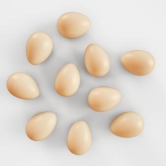 Ovos crus no fundo branco. ilustração de renderização 3d.