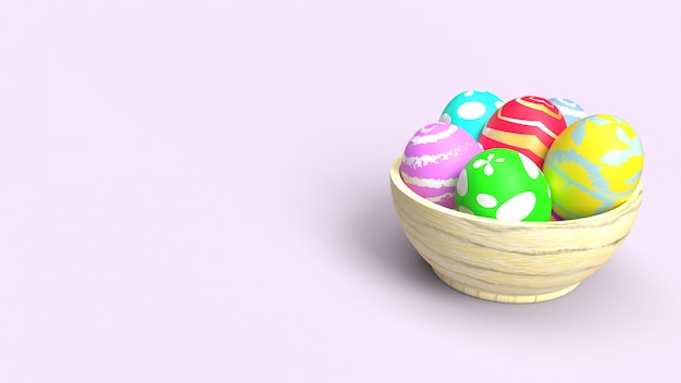 Ovos da páscoa na rendição 3d de madeira da bacia para o índice do feriado.