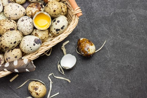 Ovos de codorna e ovo quebrado em uma cesta de vime em fundo escuro