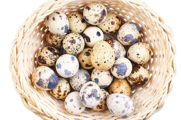Ovos de codorna em um fundo branco